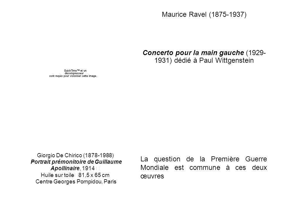 Maurice Ravel (1875-1937) Concerto pour la main gauche (1929- 1931) dédié à Paul Wittgenstein Giorgio De Chirico (1878-1988) Portrait prémonitoire de