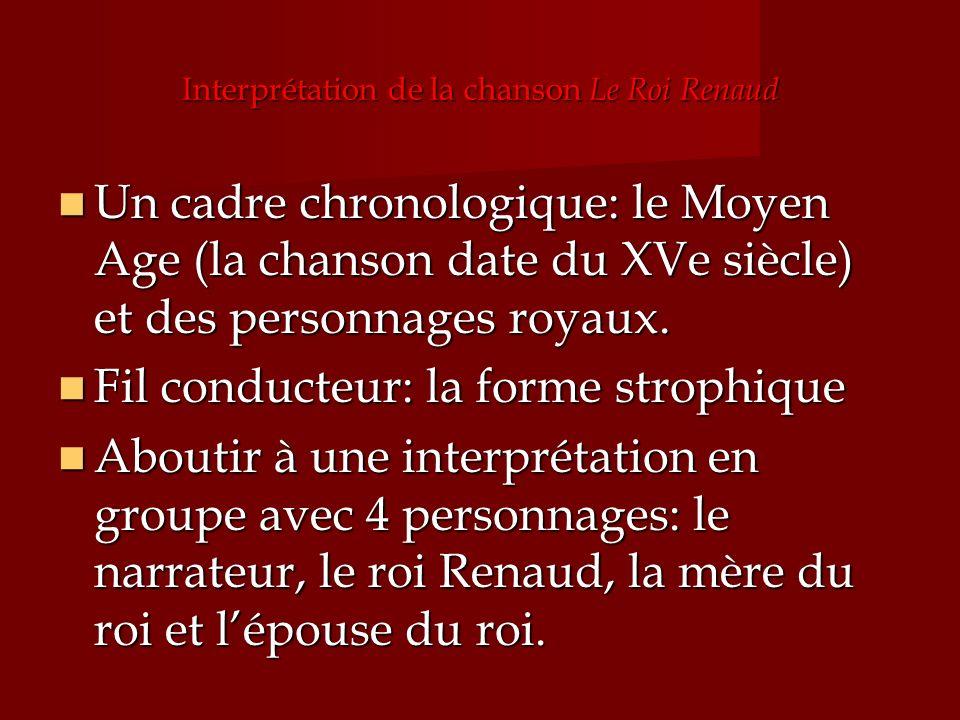 Interprétation de la chanson Le Roi Renaud Un cadre chronologique: le Moyen Age (la chanson date du XVe siècle) et des personnages royaux. Un cadre ch