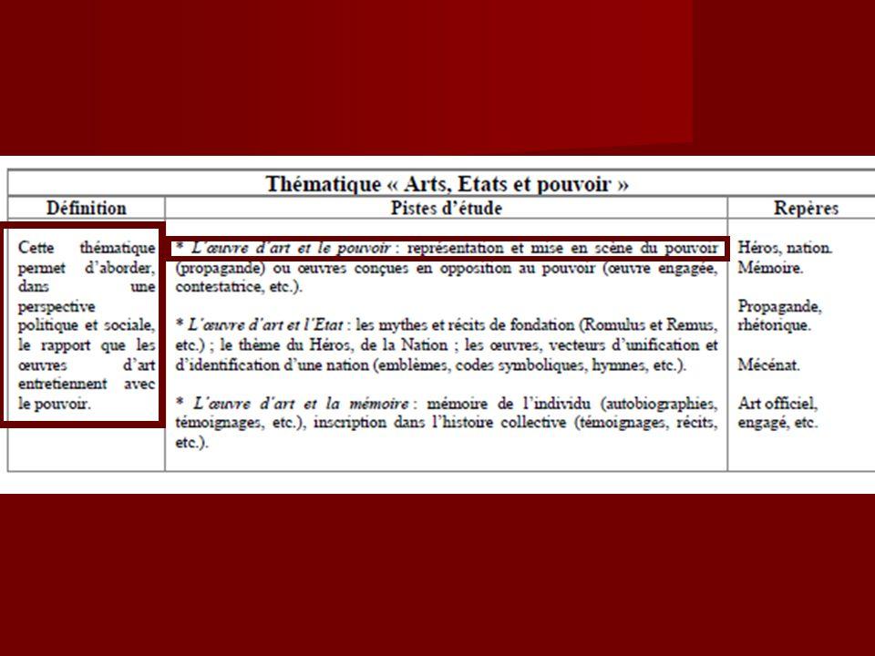 Thème Histoire des Arts: Arts, Etat et pouvoir Niveau cinquième.