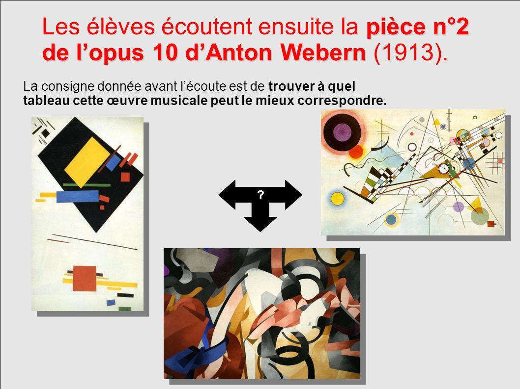 pièce n°2 de lopus 10 dAnton Webern Les élèves écoutent ensuite la pièce n°2 de lopus 10 dAnton Webern (1913). La consigne donnée avant lécoute est de