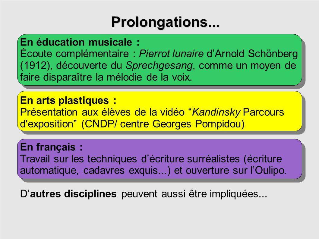 Prolongations... En éducation musicale : Écoute complémentaire : Pierrot lunaire dArnold Schönberg (1912), découverte du Sprechgesang, comme un moyen