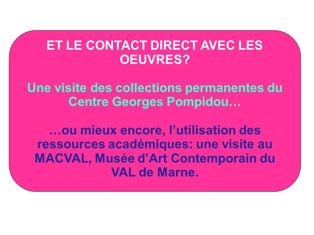 ET LE CONTACT DIRECT AVEC LES OEUVRES? Une visite des collections permanentes du Centre Georges Pompidou… …ou mieux encore, lutilisation des ressource