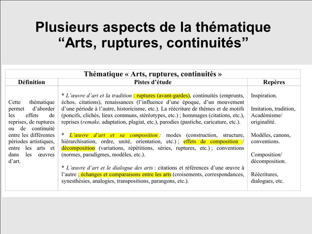 Plusieurs aspects de la thématique Arts, ruptures, continuités