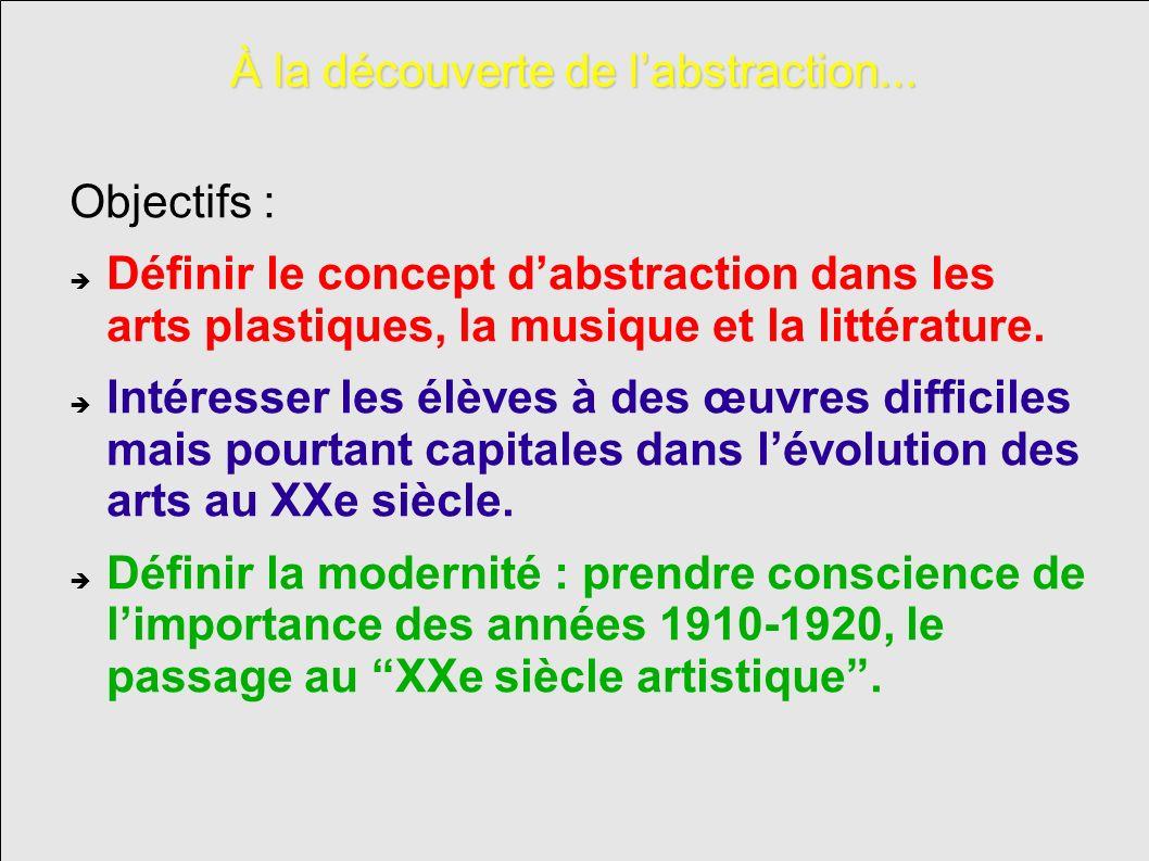 À la découverte de labstraction... Objectifs : Définir le concept dabstraction dans les arts plastiques, la musique et la littérature. Intéresser les
