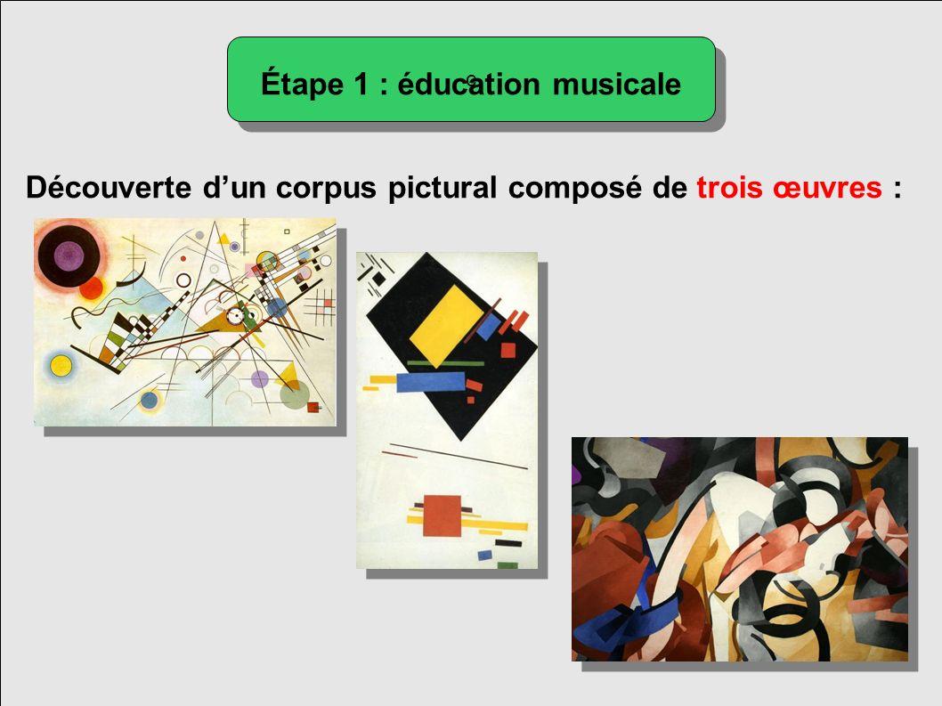 c c Étape 1 : éducation musicale Découverte dun corpus pictural composé de trois œuvres :