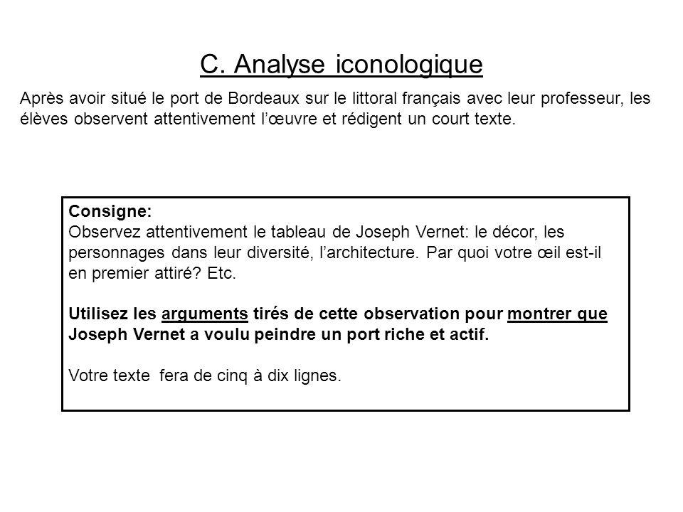 C. Analyse iconologique Après avoir situé le port de Bordeaux sur le littoral français avec leur professeur, les élèves observent attentivement lœuvre