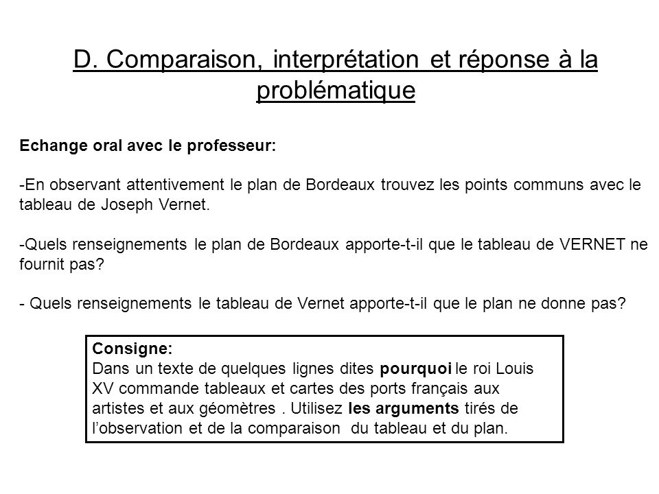 D. Comparaison, interprétation et réponse à la problématique Echange oral avec le professeur: -En observant attentivement le plan de Bordeaux trouvez