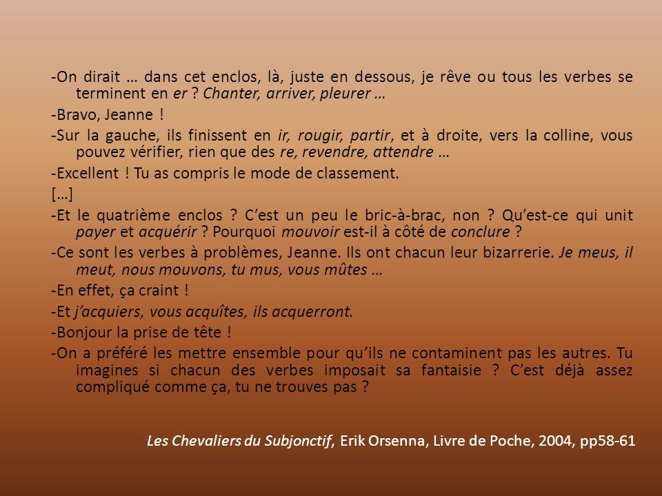 Les Chevaliers du Subjonctif, Erik Orsenna, Livre de Poche, 2004, pp58-61 -On dirait … dans cet enclos, là, juste en dessous, je rêve ou tous les verb