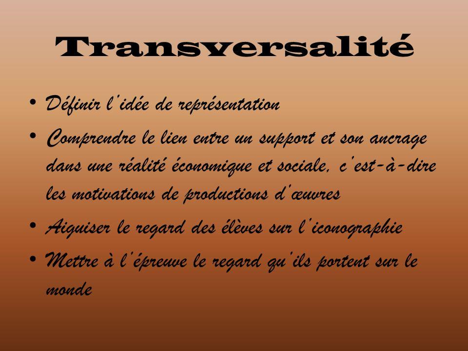 Transversalité Définir lidée de représentation Comprendre le lien entre un support et son ancrage dans une réalité économique et sociale, cest-à-dire