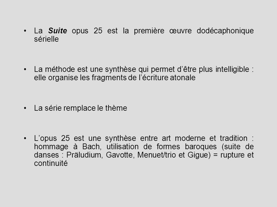 La Suite opus 25 est la première œuvre dodécaphonique sérielle La méthode est une synthèse qui permet dêtre plus intelligible : elle organise les frag