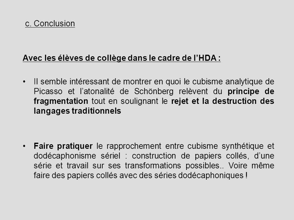 c. Conclusion Avec les élèves de collège dans le cadre de lHDA : Il semble intéressant de montrer en quoi le cubisme analytique de Picasso et latonali