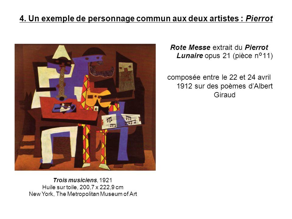 4. Un exemple de personnage commun aux deux artistes : Pierrot Rote Messe extrait du Pierrot Lunaire opus 21 (pièce n°11) composée entre le 22 et 24 a