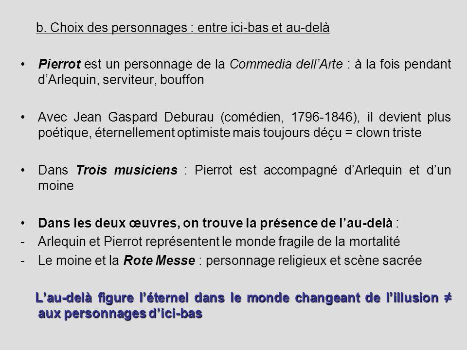 b. Choix des personnages : entre ici-bas et au-delà Pierrot est un personnage de la Commedia dellArte : à la fois pendant dArlequin, serviteur, bouffo