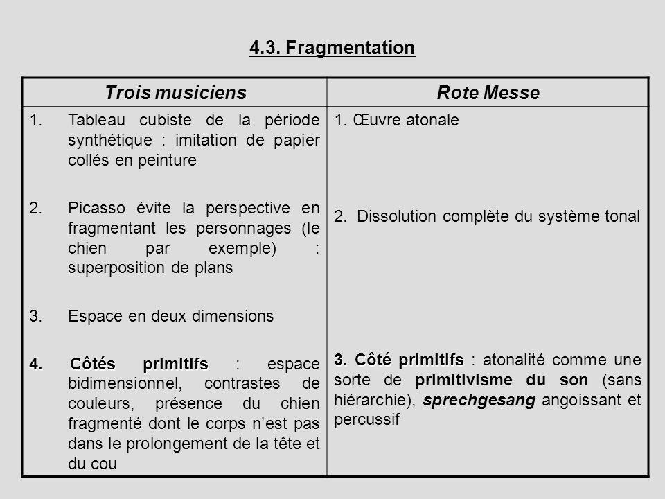 4.3. Fragmentation Trois musiciensRote Messe 1.Tableau cubiste de la période synthétique : imitation de papier collés en peinture 2.Picasso évite la p