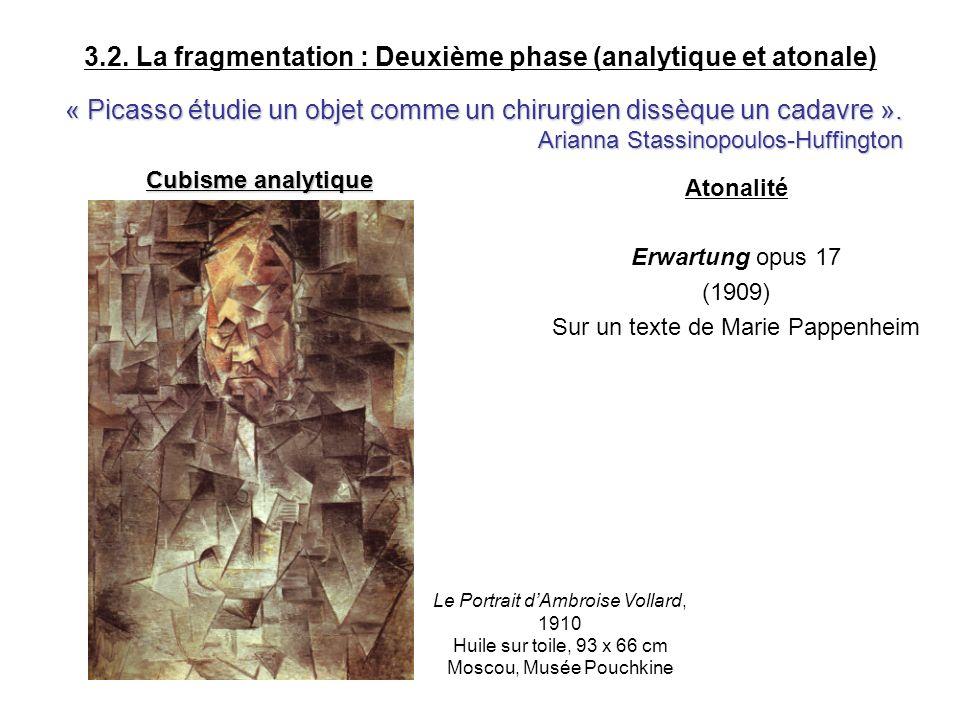 3.2. La fragmentation : Deuxième phase (analytique et atonale) Atonalité Erwartung opus 17 (1909) Sur un texte de Marie Pappenheim « Picasso étudie un