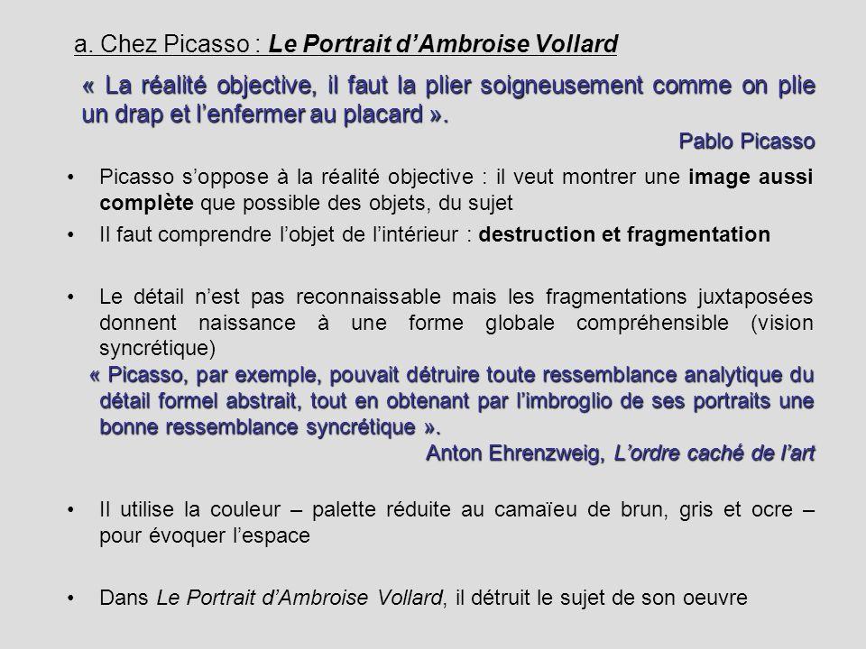 a. Chez Picasso : Le Portrait dAmbroise Vollard Picasso soppose à la réalité objective : il veut montrer une image aussi complète que possible des obj