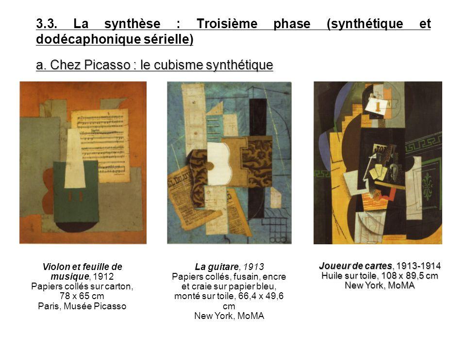 3.3. La synthèse : Troisième phase (synthétique et dodécaphonique sérielle) a. Chez Picasso : le cubisme synthétique La guitare, 1913 Papiers collés,