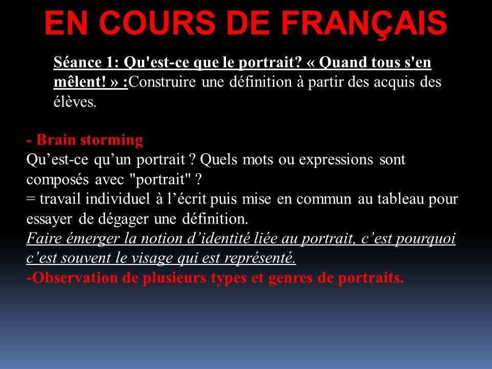 EN COURS DE FRANÇAIS Séance 1: Qu'est-ce que le portrait? « Quand tous s'en mêlent! » :Construire une définition à partir des acquis des élèves. - Bra