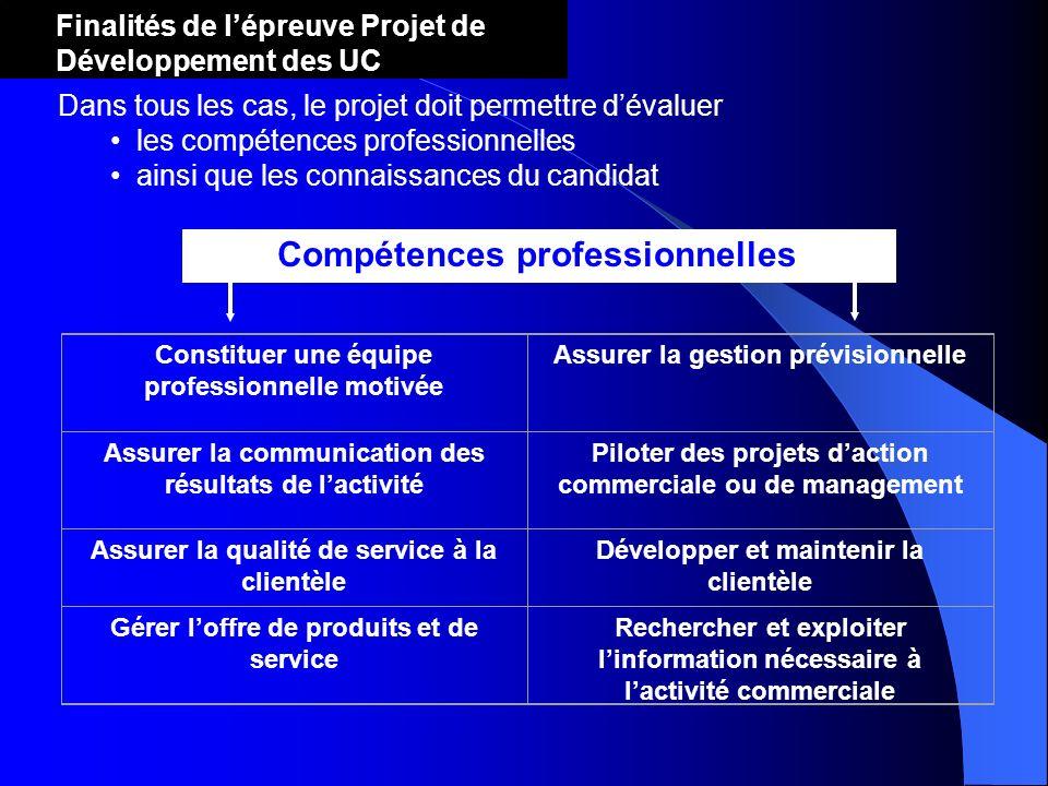 Dans tous les cas, le projet doit permettre dévaluer les compétences professionnelles ainsi que les connaissances du candidat Compétences professionne