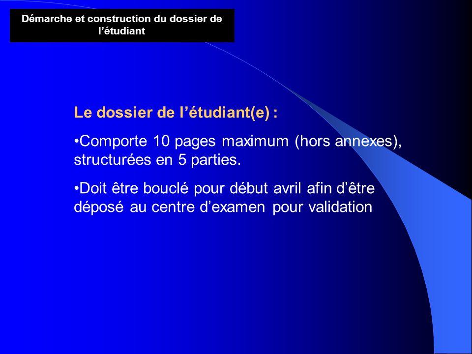 Démarche et construction du dossier de létudiant Le dossier de létudiant(e) : Comporte 10 pages maximum (hors annexes), structurées en 5 parties. Doit