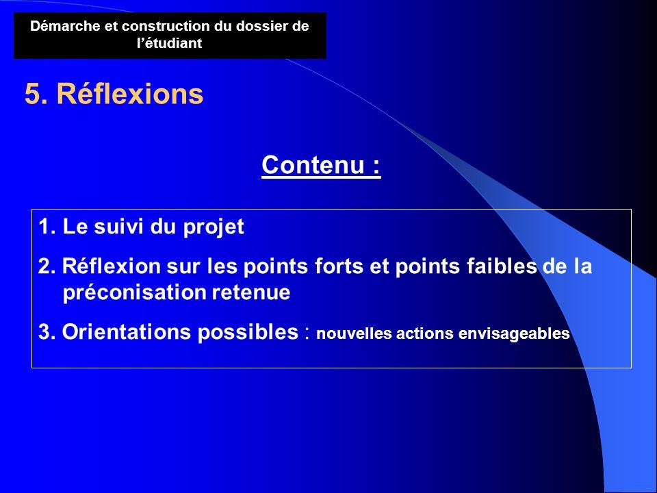Démarche et construction du dossier de létudiant 5. Réflexions Contenu : 1.Le suivi du projet 2. Réflexion sur les points forts et points faibles de l