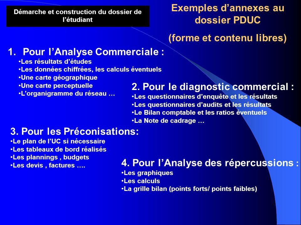 Démarche et construction du dossier de létudiant Exemples dannexes au dossier PDUC (forme et contenu libres) 2. Pour le diagnostic commercial : Les qu