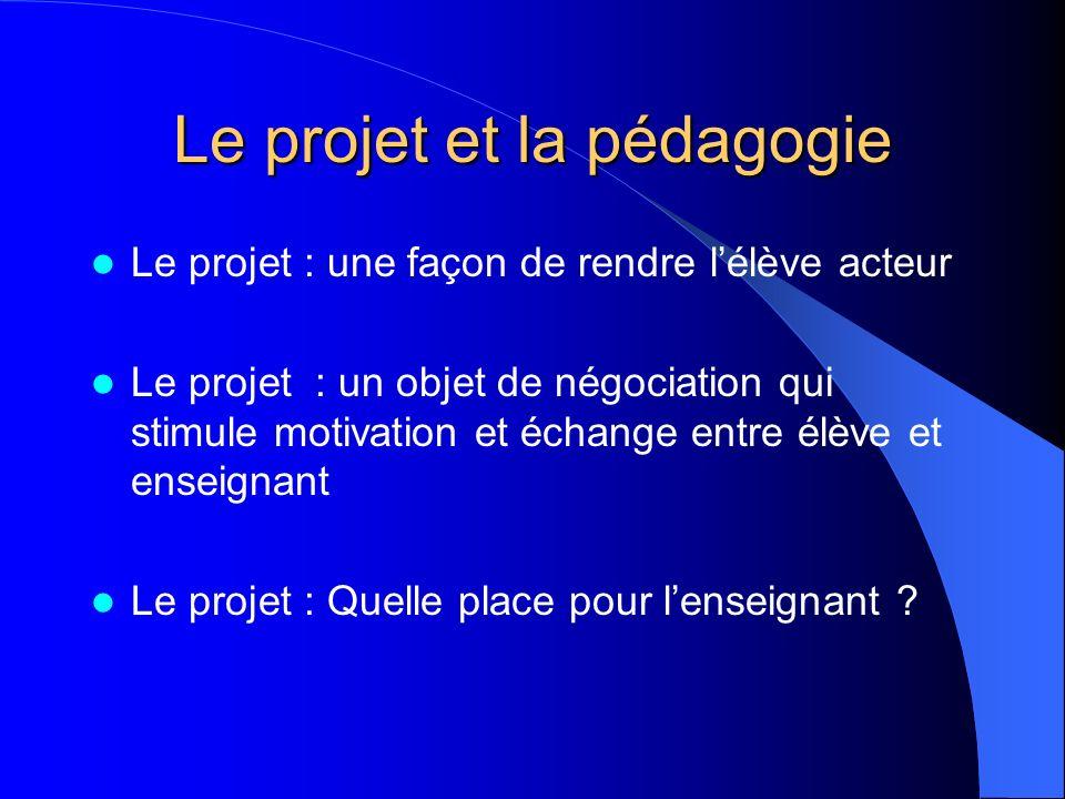 Le projet : une façon de rendre lélève acteur Le projet : un objet de négociation qui stimule motivation et échange entre élève et enseignant Le proje