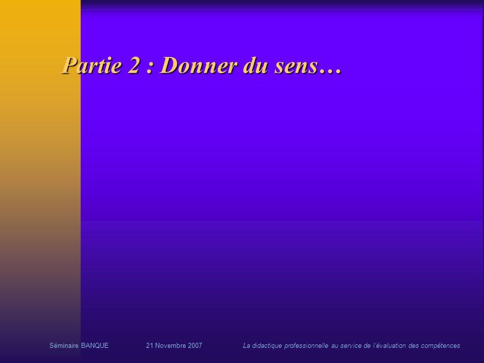 Séminaire BANQUE21 Novembre 2007La didactique professionnelle au service de lévaluation des compétences Partie 2 : Donner du sens…