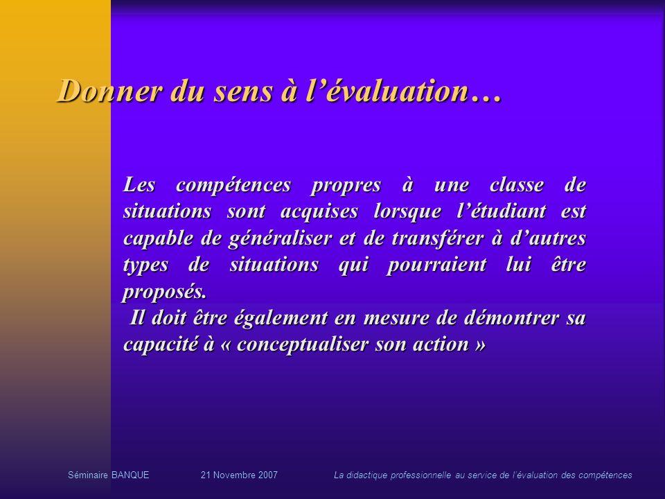 Séminaire BANQUE21 Novembre 2007La didactique professionnelle au service de lévaluation des compétences Donner du sens à lévaluation… Les compétences