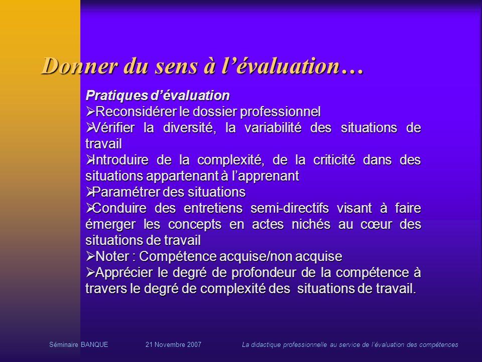 Séminaire BANQUE21 Novembre 2007La didactique professionnelle au service de lévaluation des compétences Donner du sens à lévaluation… Pratiques dévalu