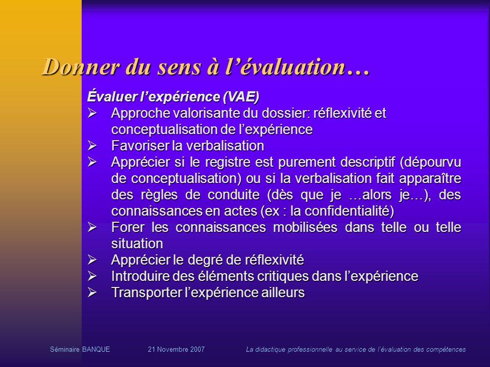 Séminaire BANQUE21 Novembre 2007La didactique professionnelle au service de lévaluation des compétences Donner du sens à lévaluation… Évaluer lexpérie