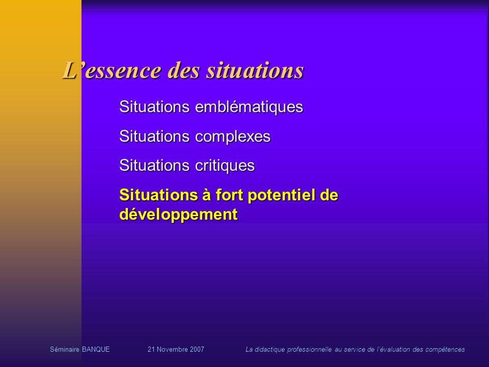 Séminaire BANQUE21 Novembre 2007La didactique professionnelle au service de lévaluation des compétences Situations emblématiques Situations complexes