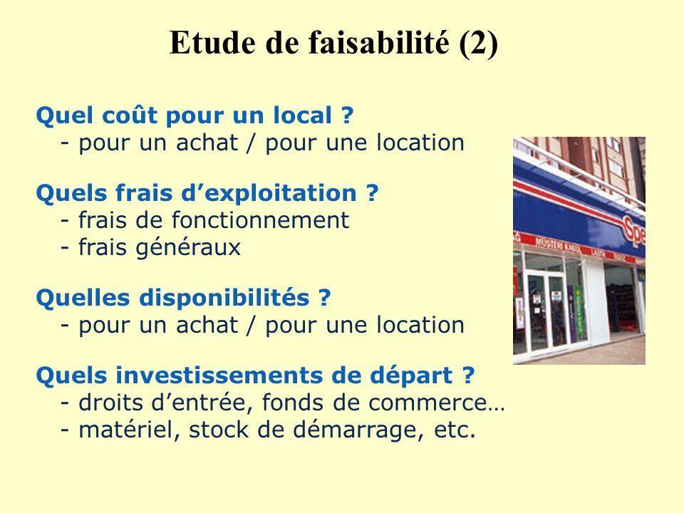Quel coût pour un local ? - pour un achat / pour une location Quels frais dexploitation ? - frais de fonctionnement - frais généraux Quelles disponibi