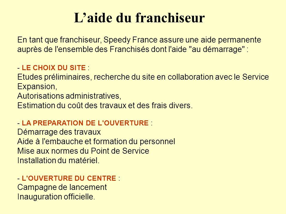 En tant que franchiseur, Speedy France assure une aide permanente auprès de l'ensemble des Franchisés dont l'aide