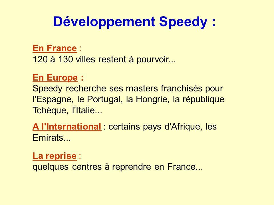 En France : 120 à 130 villes restent à pourvoir... En Europe : Speedy recherche ses masters franchisés pour l'Espagne, le Portugal, la Hongrie, la rép