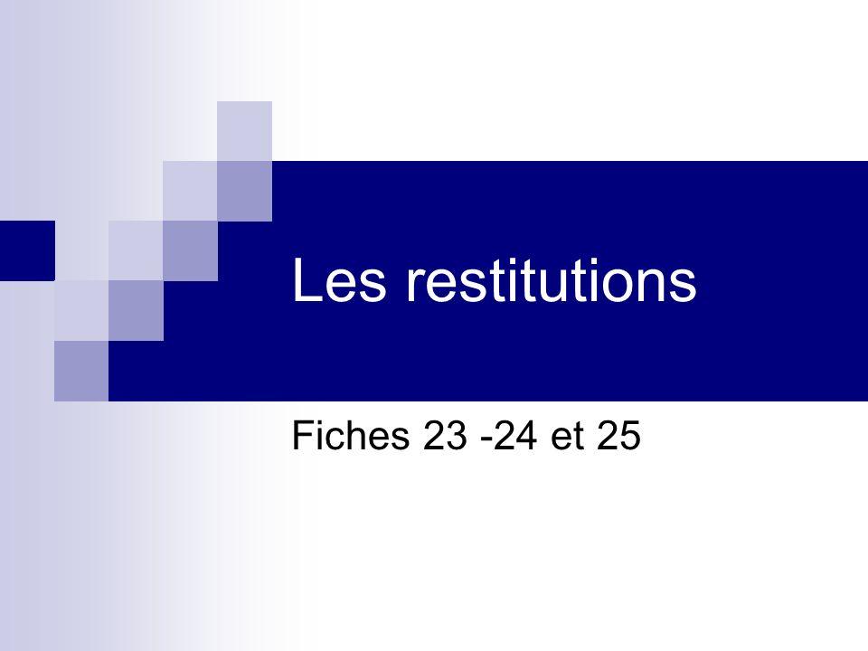 Les restitutions Fiches 23 -24 et 25