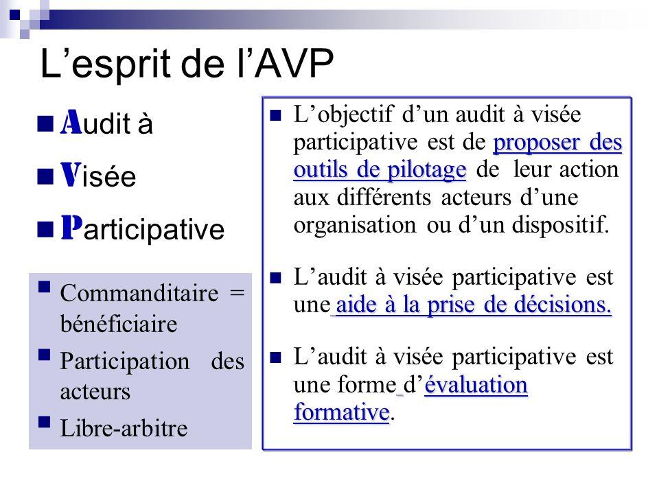 Lesprit de lAVP proposer des outils de pilotage Lobjectif dun audit à visée participative est de proposer des outils de pilotage de leur action aux di