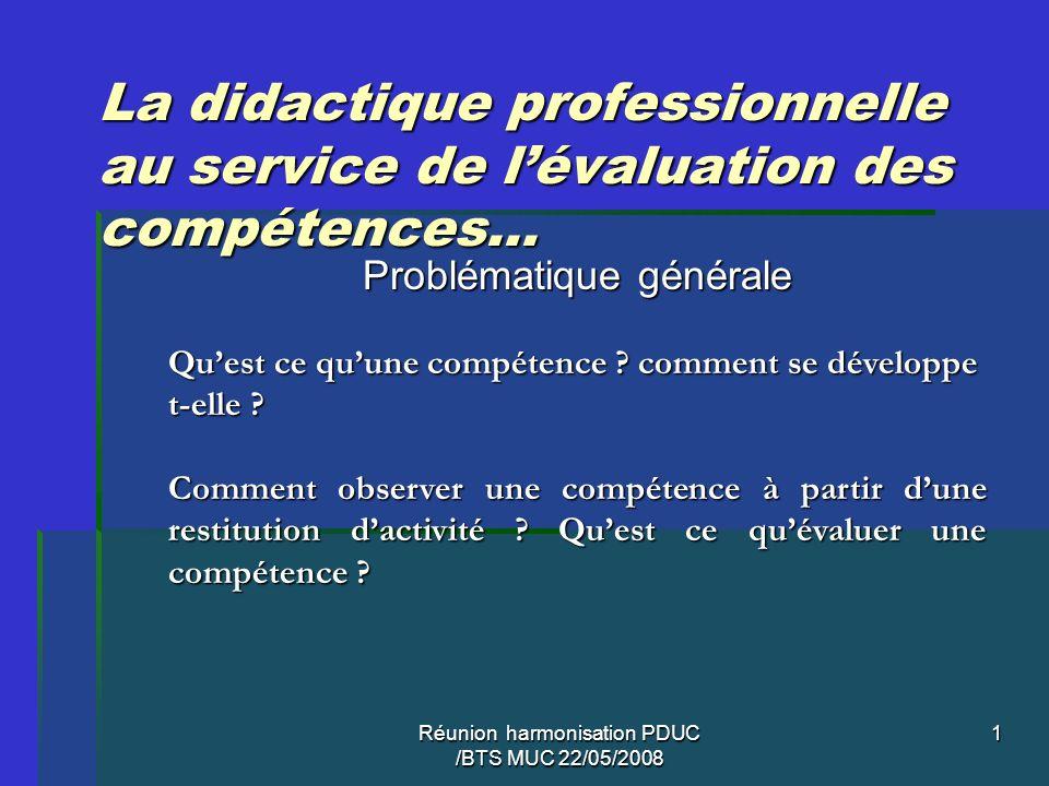 Réunion harmonisation PDUC /BTS MUC 22/05/2008 1 La didactique professionnelle au service de lévaluation des compétences… Problématique générale Quest