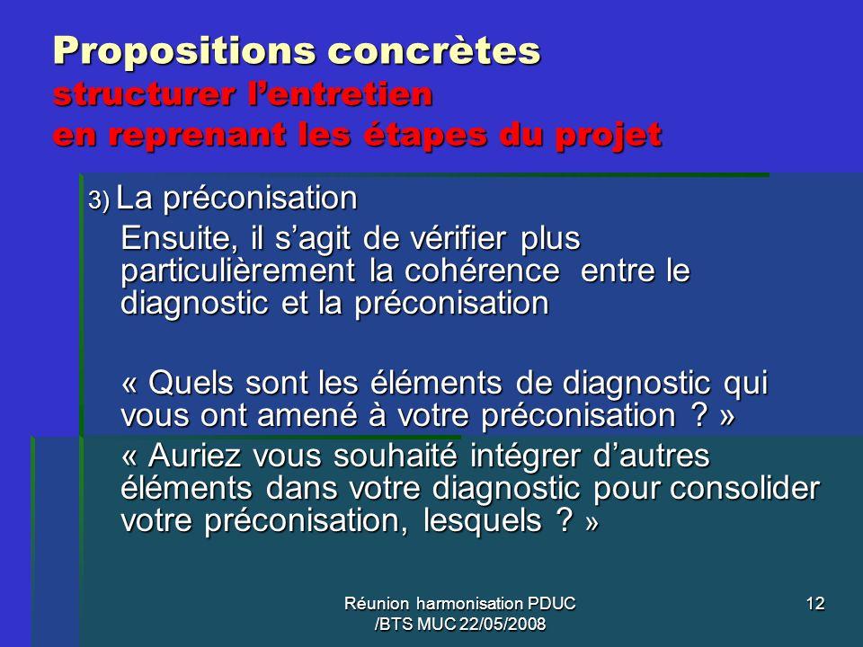 Réunion harmonisation PDUC /BTS MUC 22/05/2008 12 Propositions concrètes structurer lentretien en reprenant les étapes du projet 3) La préconisation E