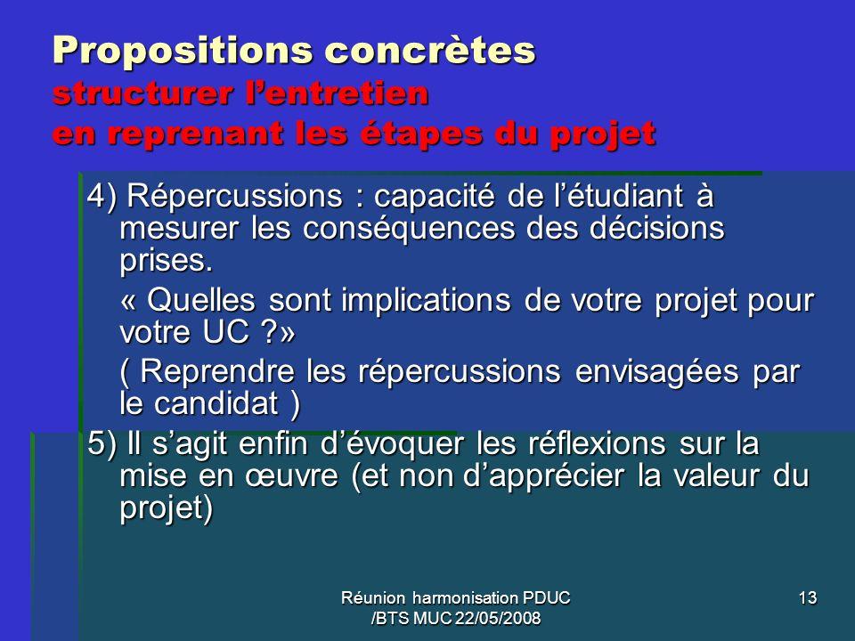 Réunion harmonisation PDUC /BTS MUC 22/05/2008 13 Propositions concrètes structurer lentretien en reprenant les étapes du projet 4) Répercussions : ca