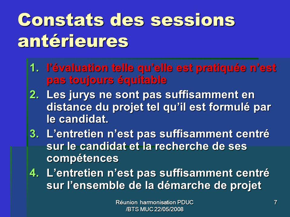 Réunion harmonisation PDUC /BTS MUC 22/05/2008 7 Constats des sessions antérieures 1.lévaluation telle quelle est pratiquée nest pas toujours équitabl