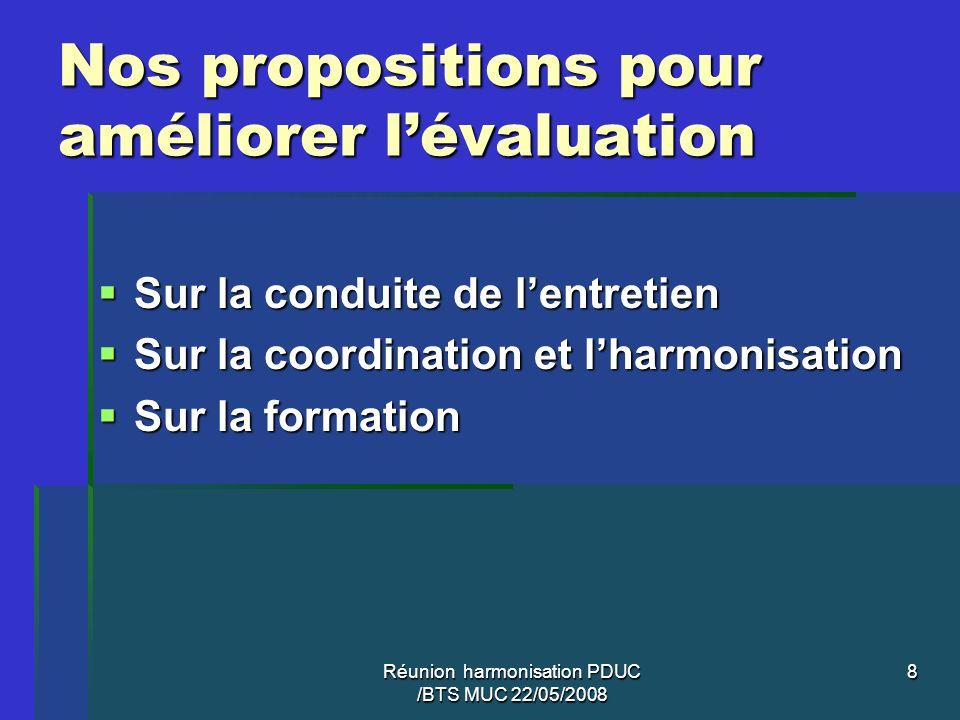Réunion harmonisation PDUC /BTS MUC 22/05/2008 8 Nos propositions pour améliorer lévaluation Sur la conduite de lentretien Sur la conduite de lentreti
