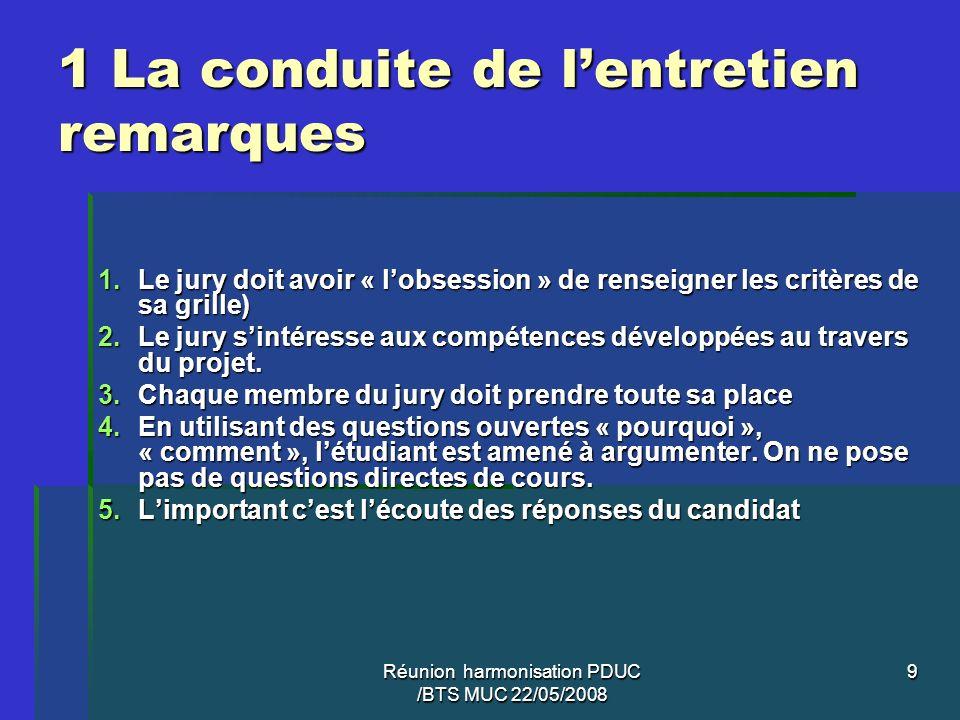 Réunion harmonisation PDUC /BTS MUC 22/05/2008 9 1 La conduite de lentretien remarques 1.Le jury doit avoir « lobsession » de renseigner les critères
