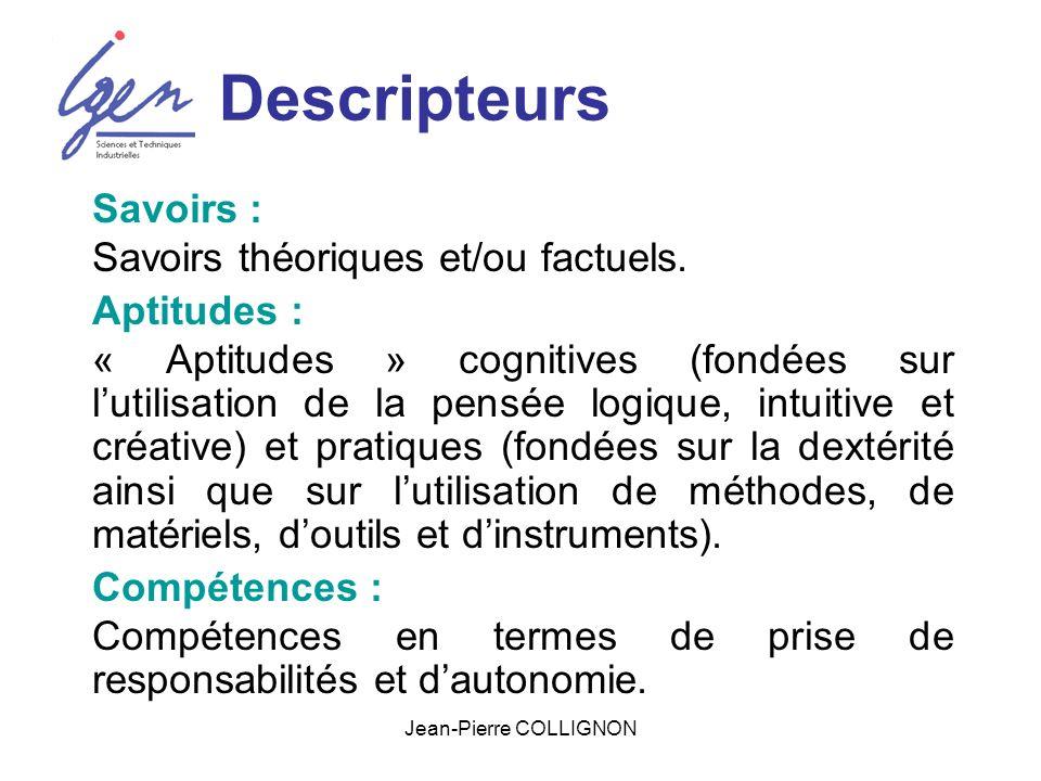 Jean-Pierre COLLIGNON Descripteurs Savoirs : Savoirs théoriques et/ou factuels.