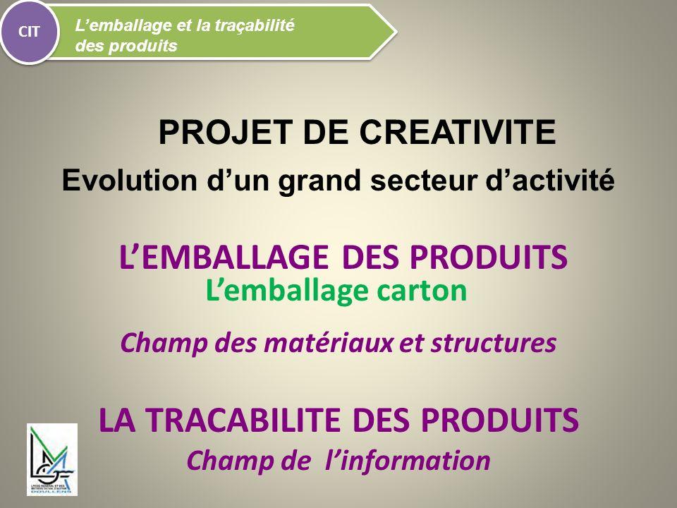 PROJET DE CREATIVITE Evolution dun grand secteur dactivité LEMBALLAGE DES PRODUITS Champ des matériaux et structures LA TRACABILITE DES PRODUITS Champ