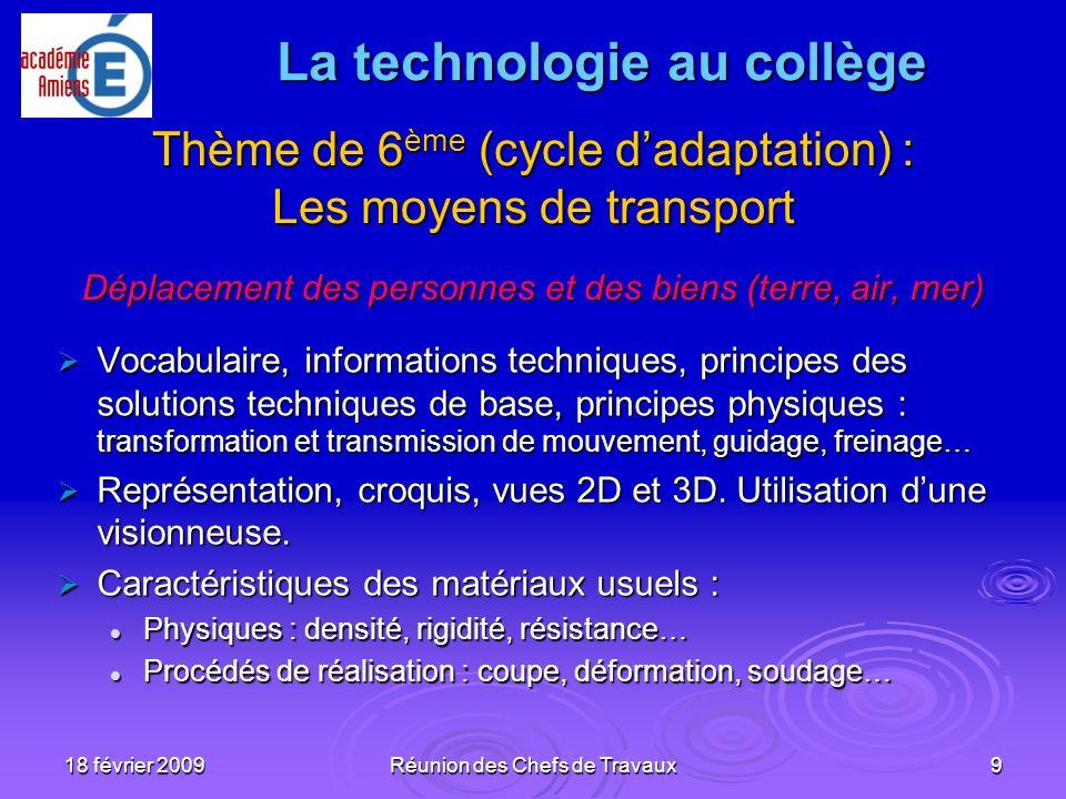 18 février 2009Réunion des Chefs de Travaux9 Thème de 6 ème (cycle dadaptation) : Les moyens de transport Déplacement des personnes et des biens (terr
