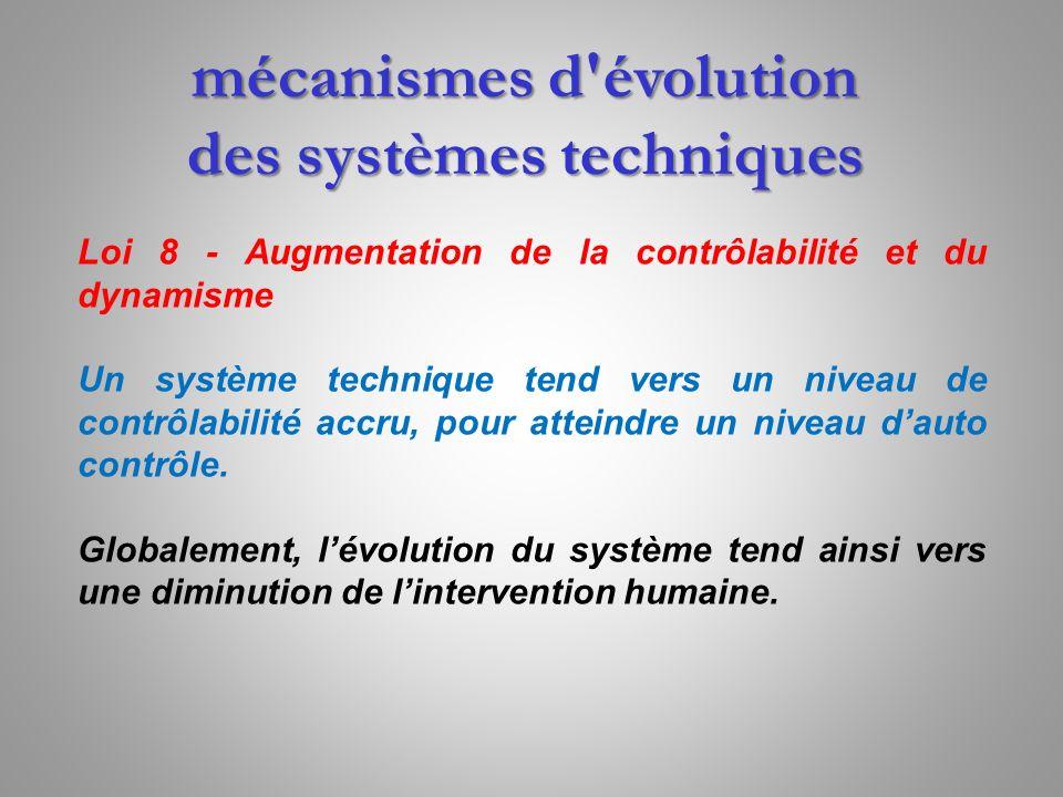 mécanismes d'évolution des systèmes techniques Loi 8 - Augmentation de la contrôlabilité et du dynamisme Un système technique tend vers un niveau de c