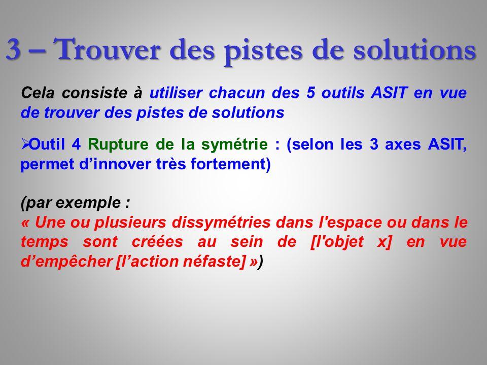 3 – Trouver des pistes de solutions Cela consiste à utiliser chacun des 5 outils ASIT en vue de trouver des pistes de solutions Outil 4 Rupture de la