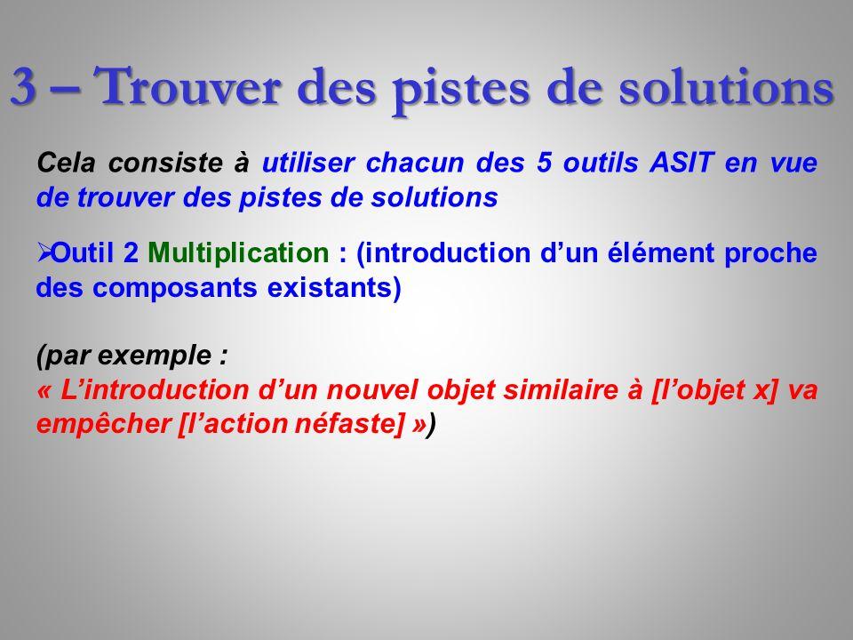 3 – Trouver des pistes de solutions Cela consiste à utiliser chacun des 5 outils ASIT en vue de trouver des pistes de solutions Outil 2 Multiplication