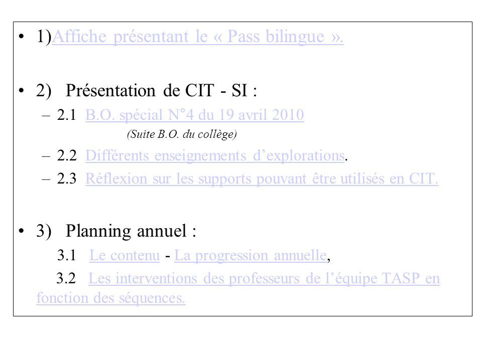 1)Affiche présentant le « Pass bilingue ».Affiche présentant le « Pass bilingue ». 2) Présentation de CIT - SI : –2.1 B.O. spécial N°4 du 19 avril 201